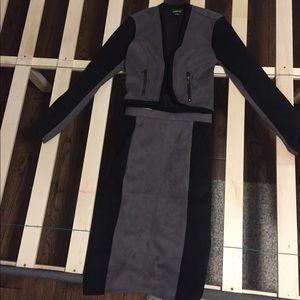 Bebe jacket and long skirt.